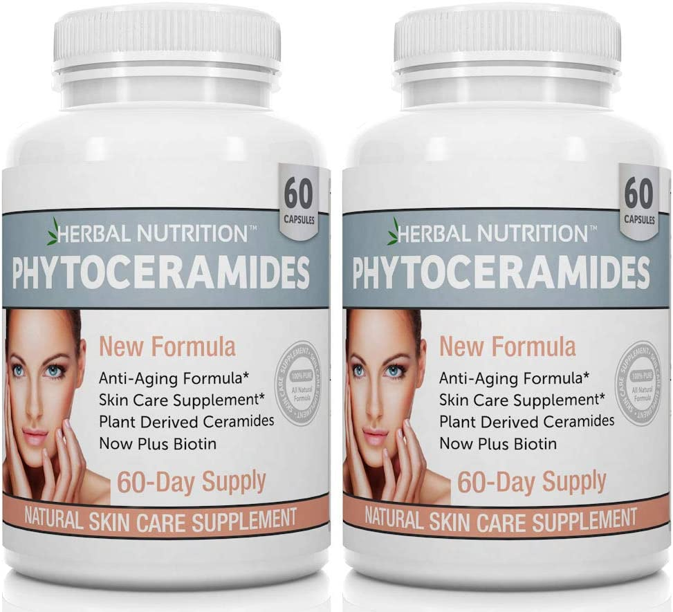 Amazon Com Phytoceramides Rice Based With Biotin Anti Aging Supplement Wrinkle Remover And Facial Moisturizing With Phytoceramides Vitamin A C D And E Two Bottle Pack 120 Capsules 40mg Gluten Free Health