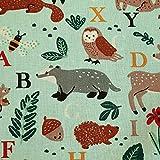 Tela de algodón por metros, diseño de animales jade bosque de tejón, zorro, pájaro, erizo, conejo, abecedario, tela decorativa para cojín, tela de cortina, tela para ropa