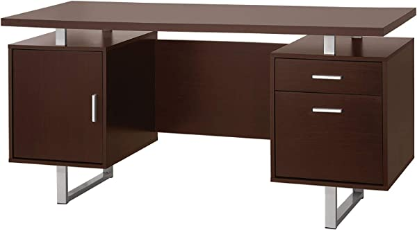 Cappuccino Computer Desk Workstation Home Office Furniture Drawer Cabinet Storage Organize Laptop PC Table Study Writing Reading Silver Accent