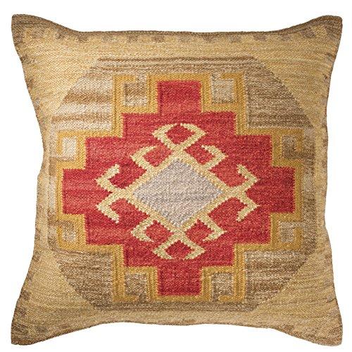 Kohra Kilim Kissenbezug Fair Trade handgefertigt 80% Wolle 20% Baumwolle 2Größen und 2Farben, natur, 60x60