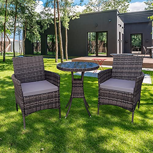 KEPLIN 3ps Bistro -Rattan Garden Furniture Set – Outdoor Lounger Sofa, Chairs and Table Bistro Set for Lawn, Patio, Inside Conservatory – Easy to Store, Stackable, Ideal for Dining in the Sun - CREAM