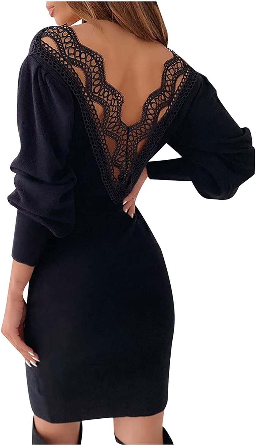 Maxi Dress Women's Sexy Solid Lace V-Neck Backless Long-Sleeved Sheath Tight Mini Dress Cocktail Wedding Wrap