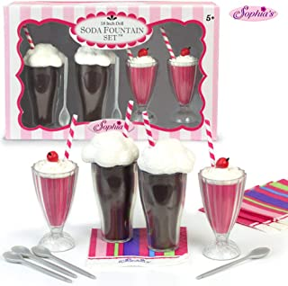 Sophia's 18 Inch Doll Play Set of 12 Pc. Soda Fountain Accessory Set, 2 Root Beer Ice Cream Floats, 2 Strawberry Smoothies, 4 Spoons & 4 Napkins Perfect for American Girl Doll Food & More Doll Items