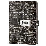 cuaderno diario Cuaderno secreto Secret Journal Bloc-Notes Cuaderno de Cuero con Cerradura de Combinación TPN095 negro