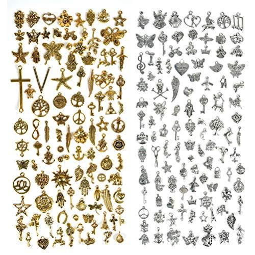 TIMESETL 200 Ciondoli Gioielli Accessori Ciondoli Chiave Vintage Antichi Ciondoli in Metallo Squisiti come Accessori per Braccialetti Fai da te, 5-32mm, Argento e Oro