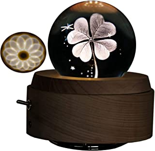 Amperer 3D Crystal Ball Music Box Four-Leaf Clover Luminous Rotating Musical Box with Projection LED Light and Wood Base Best Gift for Birthday Christmas (7# Four-Leaf Clover)