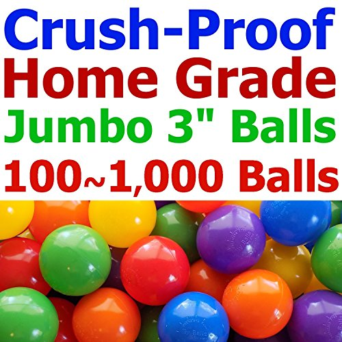 "My Balls Pack of 600 Jumbo 3"" Crush-Proof Ball Pit Balls - 5 Bright Colors, Phthalate Free, BPA Free, PVC Free, Non-Toxic, Non-Recycled Plastic (Standard Home Grade, Pack of 600 - Best Value)"