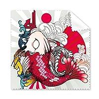 日本文化日本スタイルCarp波National Flagトーテム放射Art Illustrationパターン眼鏡布クリーニングクロス電話画面クリーナー5点