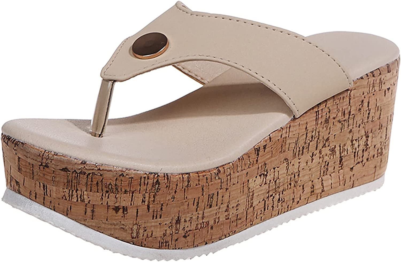 Womens Slip On Flip Flops Casual Platform Wedge Sandals Summer Beach Thong Sandals Thick Bottom Casual Slides