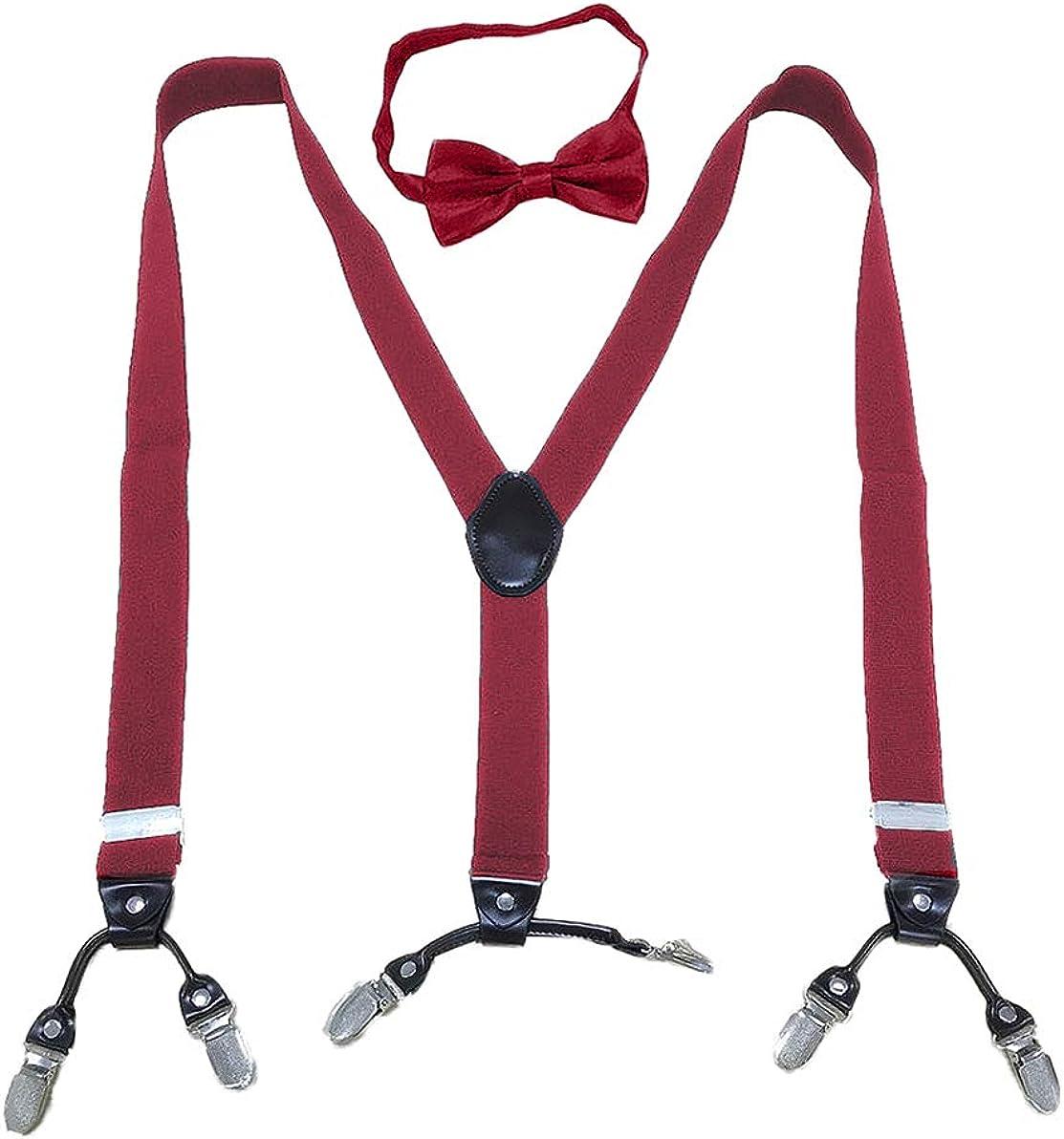 Men's Braces and Bow Tie Set - Fashion Adjustable 6 Clips Suspenders for Boyfriend, Husband, Dad