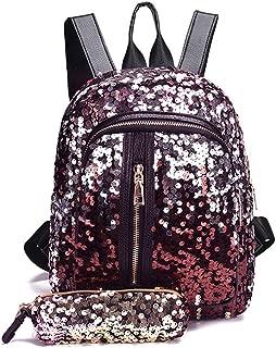 Women Magic Sequin Bag Glitter Backpack for Girls Flip Reversible Mini Fashion Bag for Outdoor - Gold