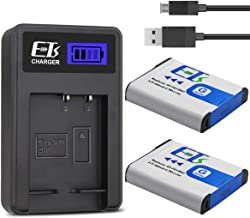 ETSUSA 2-Pack NP-BG1 Battery and LCD Dual Charger Compatible with Sony NP-BG1 Battery and Sony NP-FG1 CyberShot DSC-W30 W35 W50 W55 W70 W80 WX1 WX10 HX9V H10 H20 H70 H50 H55 H90 (Upgraded 1800mAh)