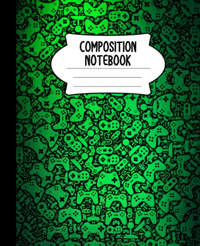 Composition Notebook: Video Game Controller Notebook | Green Spotlight, Wide-Ruled, 7.5 x 9.25, 110 Pages Journal / Notebook For Boys, Grils, Teens, and Gamers