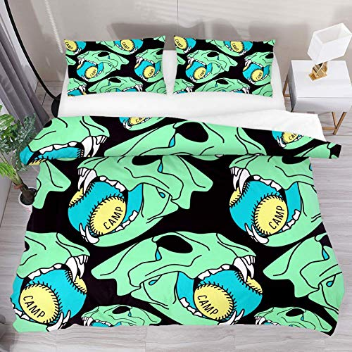 Eslifey Printed Bed Duvet Cover Set Double Skull Ball Animal Pattern 3 Pcs Duvet Bedding Set with 1 Comforter & 2 Pillow Shams All Seasons