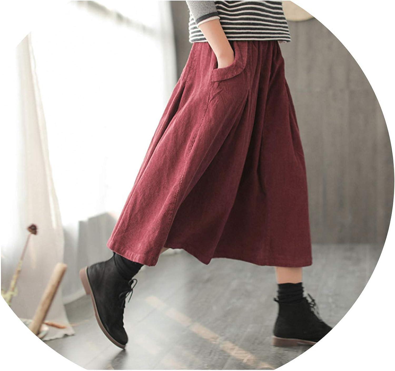 For What Reason Winter Skirt Retro Women Loose Corduroy Elastic Waist Pocket Mori Girl Casual Fashion Skirt New