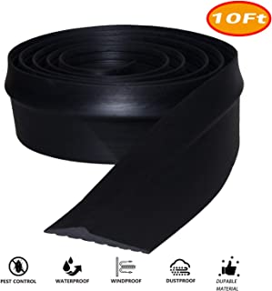 Universal Garage Door Threshold Seal, DIY Garage Door Weather Stripping, Weatherproof Floor Buffer Bottom Rubber Strip Replacement, Not Include Sealant/Adhesive (10Ft, Black)