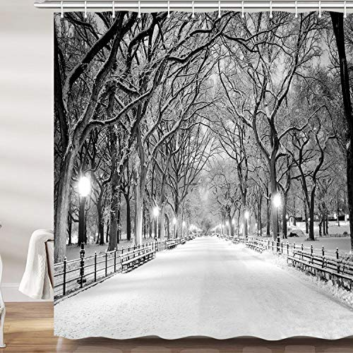 JAWO Winter Street View Shower Curtain, New York Central Park Night Snow Tree Christmas Bath Curtains Set, Polyester Fabric Upgrade Bathroom Accessories Decor 12 Hooks Included, 69X70 Inches