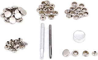 Metal Press Stud Snap Button Fastener Durable Metal Snap Button Kit Tool Press Studs with Fixing Tool for Leather Clothes ...