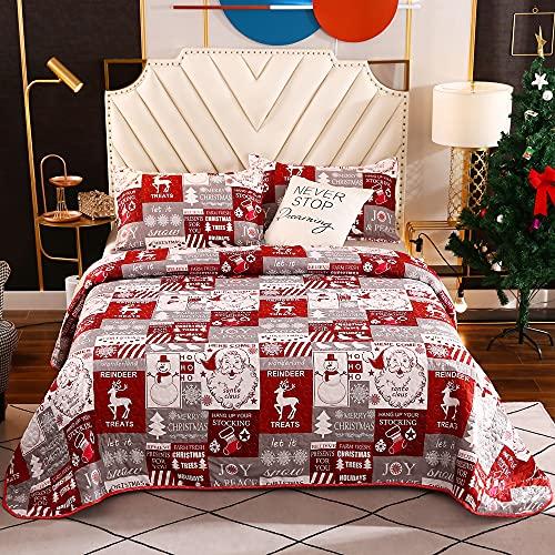 Weihnachts-Bettwäsche-Set, Schneeflocke, Weihnachtsmann-Steppdecke, Tagesdecke, wendbares Steppdecken-Set (Doppelbett, Gittermuster)