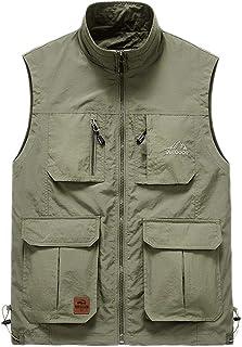Outdoor vest Men's vest Men's Summer Thin Section Multi-Pocket vest Comfort vest (Color : Khaki, Size : L)