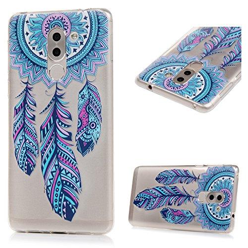 3 x Huawei Honor 6X Hülle TPU Soft Tasche Weiche CASE KASOS Handyhülle Schutzhülle Schale Cover Silicone Taschen IMD Technologie, Rosa Gradient Totem + Lila Löwenzahn + Blau Traumfänger - 6