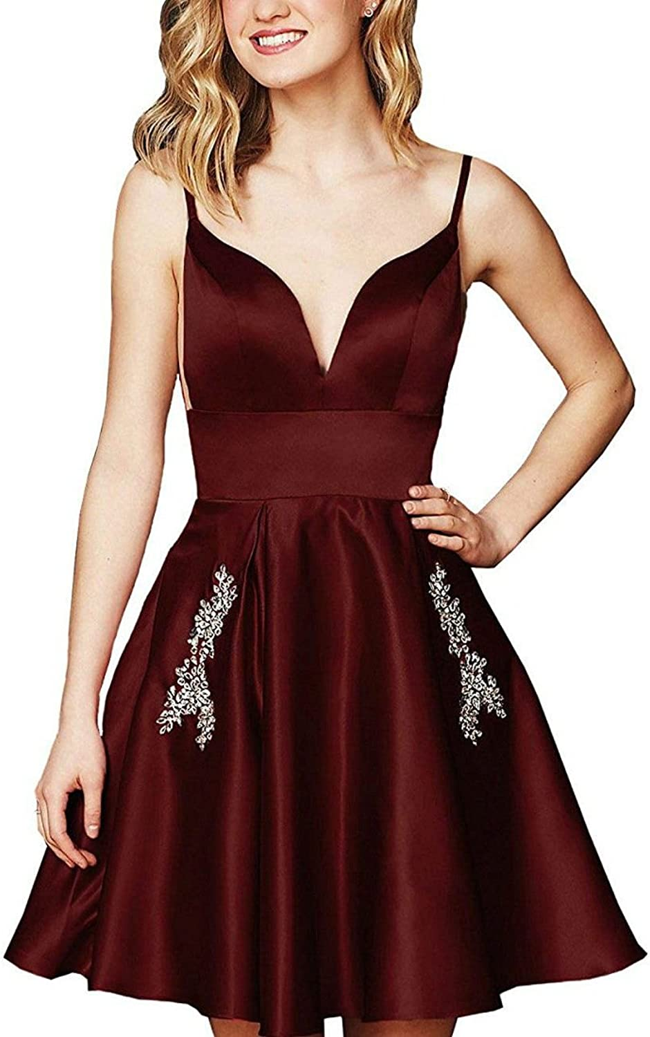 VNeck Spaghetti Strap Homecoming Dresses with Beaded Pockets Short Prom Dresses
