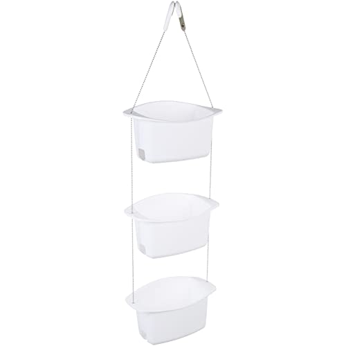 AmazonBasics 3-Basket Adjustable Shower Caddy - White
