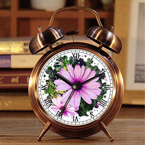 Wecker, Retro Portable Twin Bell neben Wecker mit Nachtlicht 263.Filter, Blume, Makro, Pink, Lila, Blumen, Grün