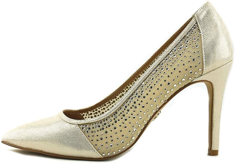 Thalia Sodi Womens Natalia Fabric Pointed Toe Classic Pumps, gold, Size 8.5