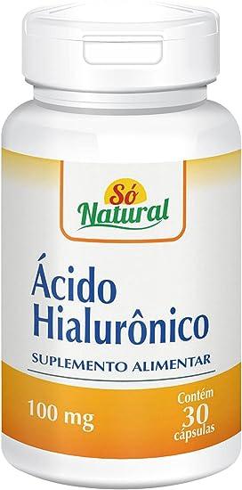Ácido Hialurônico 100 mg com Colágeno Hidrolisado 30 cápsulas Só Natural