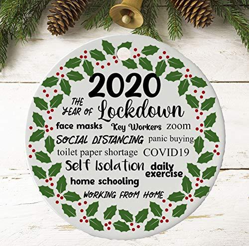 None-brands 2020 Christmas Tree Ornaments 2020 Christmas Ornament | 2020 Christmas Decoration | 2020 Keepsake Bauble | Lockdown | Quarantine | Pandemic | Coronavirus | COVID | Tree | Cute Ceramic