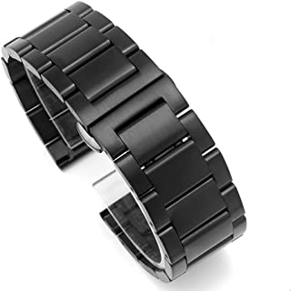 Brushed Finish Stainless Steel Solid Links Wrist Watch Band Bracelet Strap Replacement Butterfly Buckle Clasp