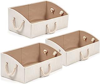 EZOWare Boîte de Rangement Pliable en Tissu de Bambou avec poignées, Panier de Rangement, Coffre de Rangement pour Armoire...