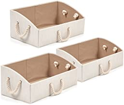 Set of 3 Storage Bins EZOWare Foldable Bamboo Fabric Trapezoid Storage Organizer Boxes with Cotton Rope Handle, Collapsibl...