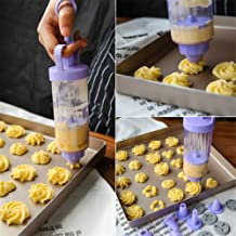Cookie Gun Discs,Cookie Press, Classic Biscuit Maker, Cake Making Decorating Set with 10 Flower Pieces and 8 Cake Decorati...