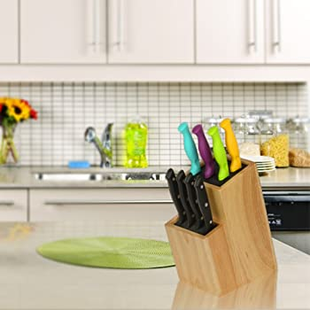 Mantello Wood Universal Knife Block Two-Tiered Slot-Less Wooden Knife Stand, Organizer & Holder - Convenient Safe Sto...