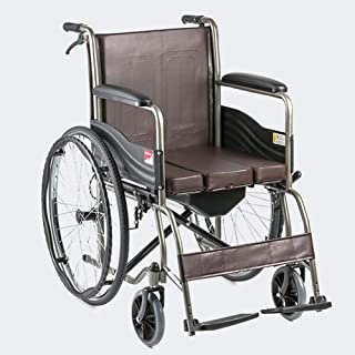 Wheelchair ,Lightweight Transport Folding Chair with Handbrakes ,Adjustable Self-propelled Chair with Bedpan,24 inch Large...