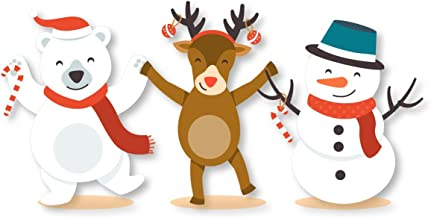 Kerstmis Decoratieve Stickers - IJsbeer, Sneeuwman, Vader Kerstmis, Rendier - Vakantie Vrienden