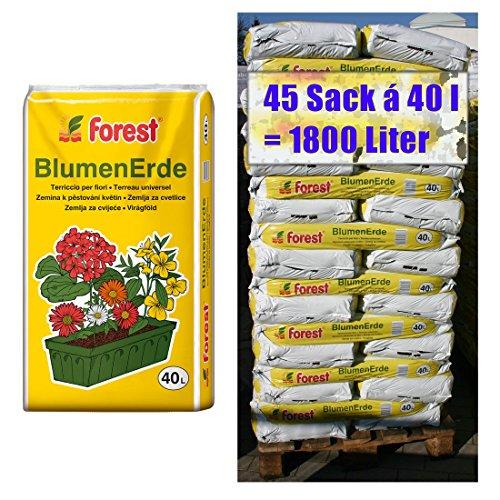 Blumenerde FOREST 45 Sack mit je 40 Liter = 1800 Liter Qualitäts Blumen- & Pflanzerde aus Bayern