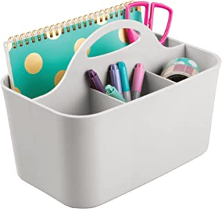 mDesign Small Office Storage Organizer Utility Tote Caddy Holder with Handle for Cabinets, Desks, Workspaces - Holds Deskt...