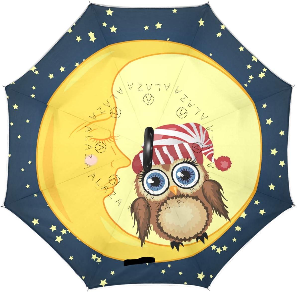 Wamika Fashionable Owls Moon Star Reverse Store Inverted Umb Layer Double Umbrella