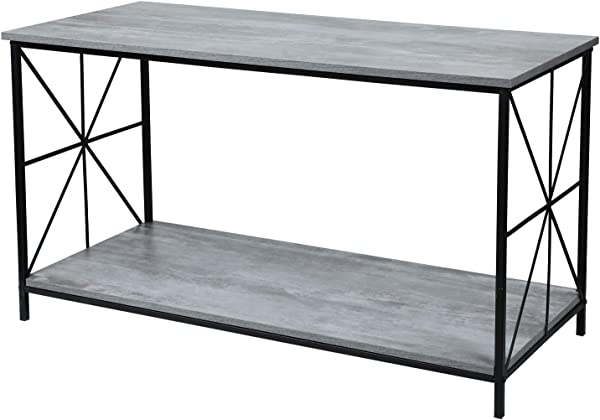 Adeco FT0198 3 Accent Storage Wood Top Shelf With Sturdy Metal Frame 43x17x24 Inches Coffee Tables Ash Gray