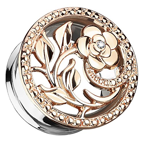 Piercingfaktor Flesh Tunnel Ohr Plug Edelstahl Piercing Ohrpiercing Vintage Tribal Ethno Boho Blume Ornament mit Strass Kristall 6mm Rosegold