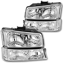 JSBOYATHeadlight Assembly Replacement for 2003-2006 Chevy Avalanche/ 03-07 Chevrolet Silverado1500 2500 3500 Pickup Headlamp with Bumper Lights - Passenger and Driver Side (Chrome)