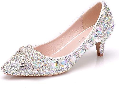 Moojm mujer Sandalias De Tacón Alto zapatos De Boda De Cristal Brillante zapatos De Novia De Punta Estrecha