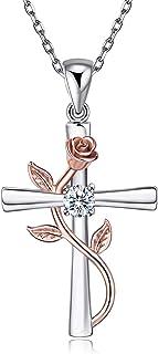 BlingGem Collares para Mujer Cruz Rosa Plata 925 Chapado de Oro Rosa Cruz Flores Rose Zirconia Cubica Colgante Regalo para...