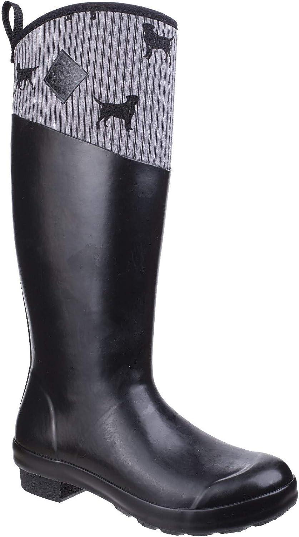 Muck Boots Womens Tremont Emily Bond Print Wellington Black Grey Dogs Size UK 5 EU 38