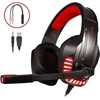LATEC Auriculares Gaming, Cascos Gaming Microfono para PS4 Xbox ...