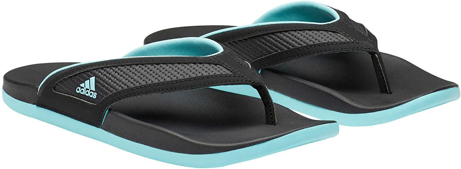 Adidas Womens Adilette Comfort Summer Flip Flop Sandals (Black Mint, 8)