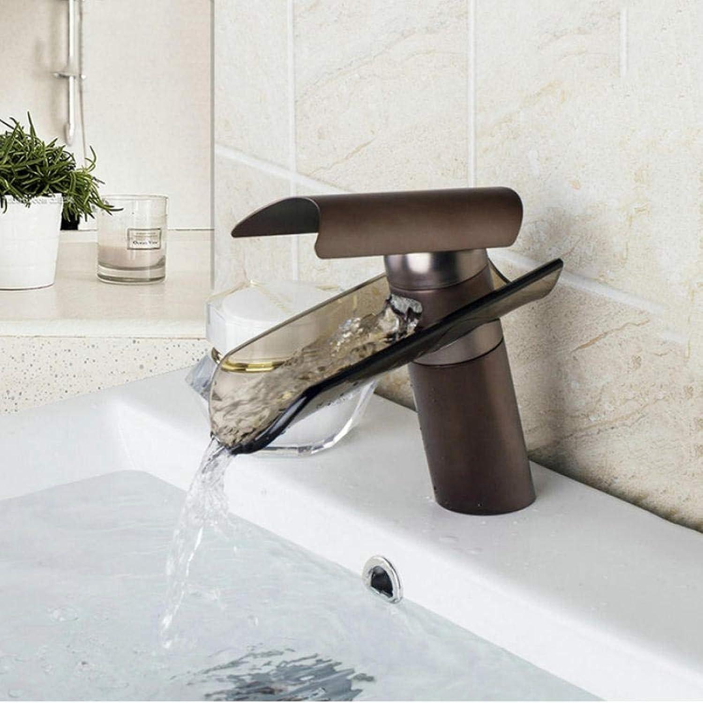 L abwischen schwarz Bronze Wasserfall Auslauf Waschbecken Wasserhahn heien und kalten Wasserhahn Wasserhahn